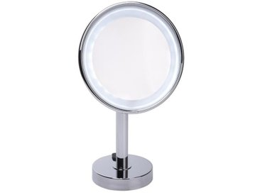 GERSON Miroir grossissant à poser lumineux LED - Chromé - Ø 20 cm - H36 cm