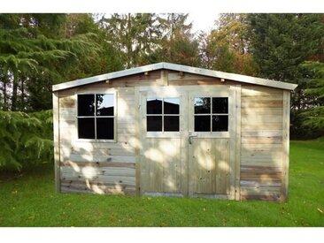 CHALET ET JARDIN Abri de jardin 4x4 - 15 m² - Poteaux 19 mm - Madrier en pin FSC