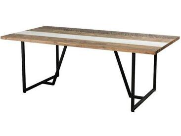 Table à manger 6 à 8 personnes scandinave en bois acacia massif naturel et blanc + pieds en métal noir - L 200 x l 100 cm
