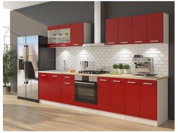 ULTRA Cuisine complète avec meuble four et plan de travail inclus L 300 cm - Rouge mat
