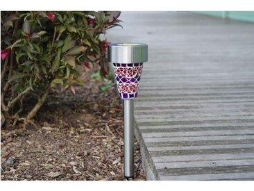 Lanterne solaire en inox effet mosaïque 1 LED