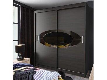 ELYPS Armoire de chambre style contemporain noir mat - L 200 cm