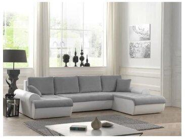 CLŒ Canapé d'angle panoramique convertible 8 places + Coffre de rangement - Tissu gris clair et simili blanc - L 320 x P 142 cm