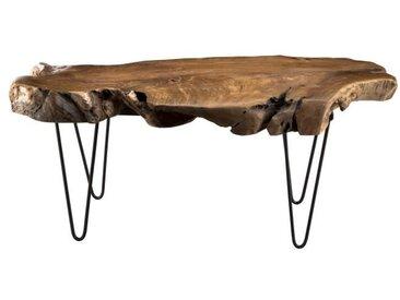 Table basse ethnique en bois teck massif naturel - Pieds épingles scandi en métal - L 118 x l 52 cm