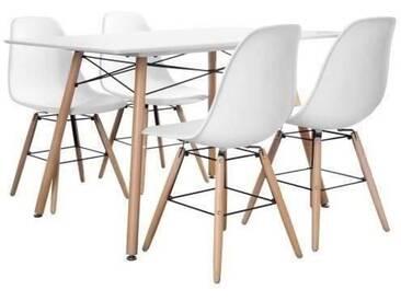 Ensemble table à manger 4 à 6 personnes LONDON + 4 chaises scandinaves ARGUS V1 - Blanc mat - L 120 x l 80 et L 51,5 x P 46 cm