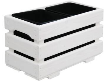 Jardinière pour 2 pots - 43 x 23 x 26 cm - Blanc
