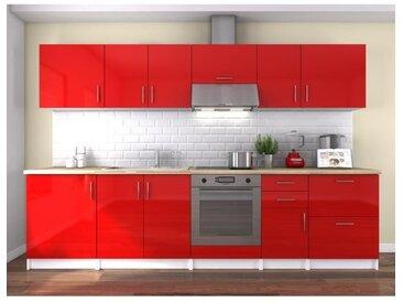 OBI Cuisine complète L 300 cm - Rouge laqué brillant