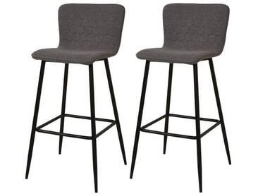 VEGAS Lot de 2 tabourets de bar pieds métal noir - Revêtement tissu gris - Style contemporain - L46 x P46 cm