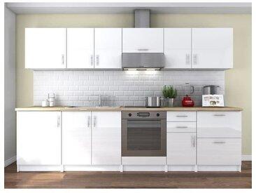 OBI Cuisine complète L 300 cm - Blanc laqué brillant