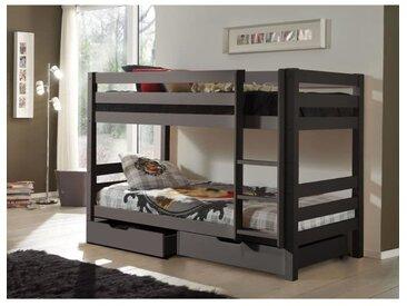 PINO Lit enfant superposé - Style et design contemporain - 2 tiroirs gris