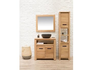 MOREA Ensemble salle de bain en bois teck massif simple vasque L 80 cm - Naturel
