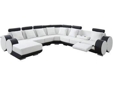 CHARLES L Canapé de relaxation d'angle gauche fixe 10 places - Simili blanc et noir - Contemporain - L 346 x P 188 cm
