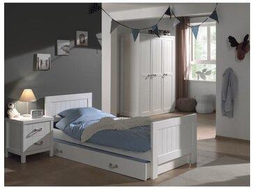 LEWIS Meuble de chambre 4 pièces - Blanc