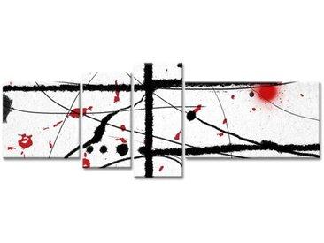 Tableau Déco Art Moderne Abstrait Noir et Rouge sang - 160x60 cm
