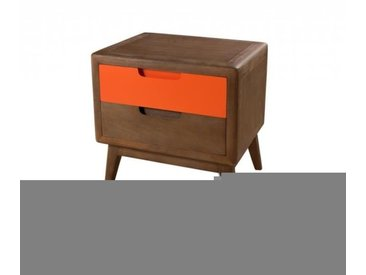 Table de chevet 2 tiroirs cannelle Orange Vintage Bois 45cm LUCIEN