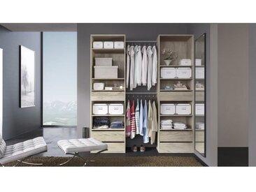 COMBI Kit dressing 2 colonnes + 2 barres de penderie contemporain décor chêne clair - L 177 cm