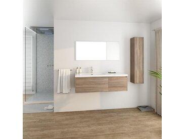 GIRONA Salle de bain complète simple vasque L 120 cm - Décor chêne sonoma