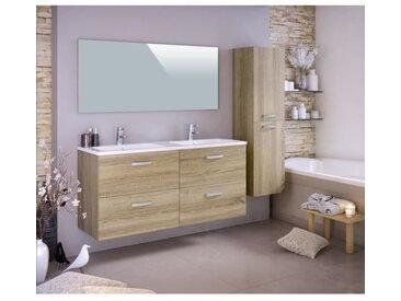 STELLA Ensemble salle de bain double vasque avec colonne et miroir L 140 cm - Décor chêne