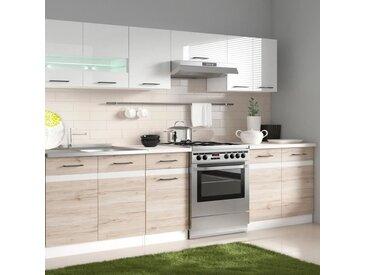 JUNONA Cuisine complète avec éclairage LED et plan de travail L 2m40 - Blanc brillant et décor chêne san remo clair