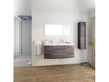 PACOME Salle de bain complète simple vasque L 120 cm - Gris effet bois