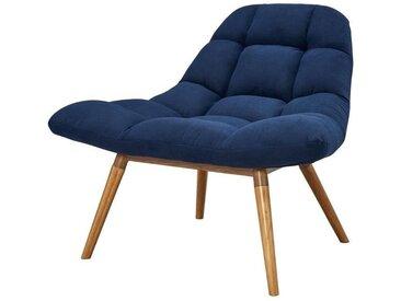 LENA Fauteuil en tissu bleu + pieds bois - Scandinave - L 117 x P 92 cm