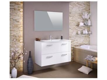 STELLA Ensemble salle de bain simple vasque avec miroir L 100 cm - Blanc laqué brillant