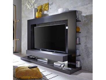 TT05 Meuble TV mural avec LED contemporain gris mat et noir brillant - L 164 cm