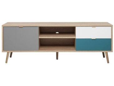 CUBA Meuble TV scandinave décor chêne, gris, blanc et bleu pétrole - L 150 cm