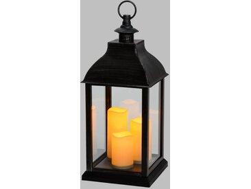 LOTTI Lanterne brune carré 24x24x54 cm + 3 bougies LED Ø 7,5 x H 11,5 / 15 / 18 cm - Effet flamme