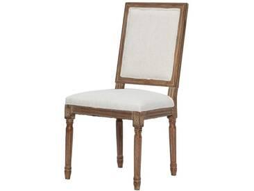 REGENCY Chaise de salle à manger en bois massif - Tissu Lin coloris naturel - Classique - L 47 x P 40 cm