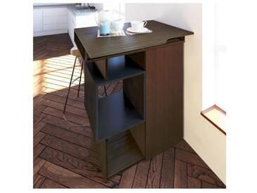 Table bar vintage mélaminé décor noyer et gris anthracite - L 90 cm