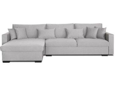 MALMA Canapé d'angle réversible 5 places - Tissu gris clair - Classique - L 290 x P103-173 cm