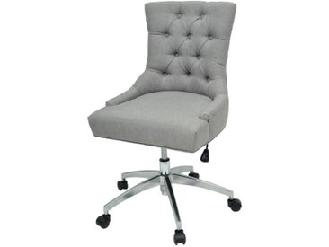 ALERIA Fauteuil de bureau - Tissu gris clair - L 58 x P 60 cm