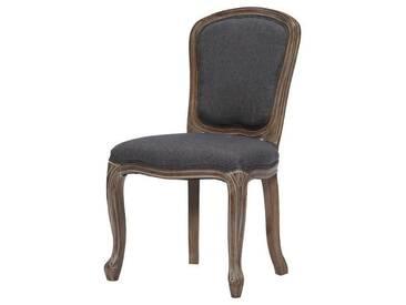 CLASSIQUE Chaise de salle à manger en bois massif - Tissu Lin gris - Classique - L 52 x P 40 cm
