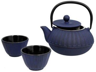 THE KITCHENETTE Théière en fonte Sapporo - 0,65 cl + 2 tasses - 12 cl - Bleu