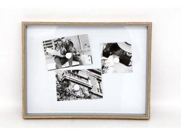 Tableau magnétique + 5 magnets 31 x 41 cm - Blanc et naturel