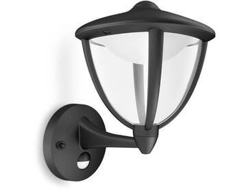 ROBIN-Applique dextérieur Montante LED avec Détecteur H26cm Noir Philips