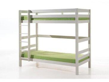 PINO Lit superposé 180cm + 2 tiroirs - 90x200 cm - Blanc