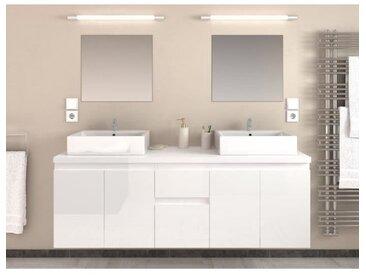 CINA Ensemble salle de bain double vasque L 150 cm - Blanc laqué brillant