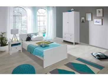OLE Chambre enfant complète 3 pièces style romantique blanc mat - l 90 x L 200 cm