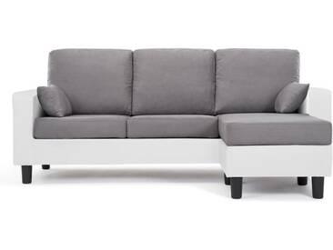 BERLIN Canapé dangle réversible 3 places - Simili blanc et tissu gris clair - Contemporain - L 185 x P 128 cm