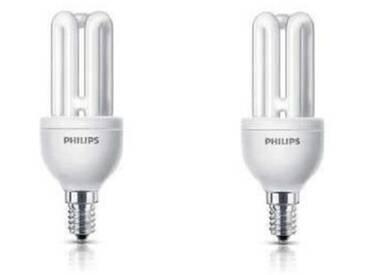PHILIPS Lot de 2 ampoules fluo-compacte E14 11 W équivalent à 50 W