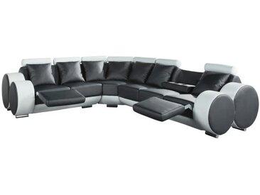 CHARLES Canapé de relaxation d'angle gauche fixe 8 places - Simili gris anthracite et blanc - Contemporain - L 343 x P 136 cm