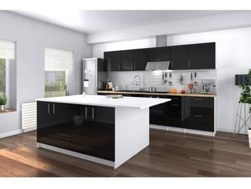 OBI Ilot central avec plan de travail L 160 cm - Blanc mat et noir laqué brillant