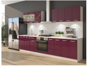 ULTRA Cuisine complète avec meuble four et plan de travail inclus L 300 cm - Aubergine brillant