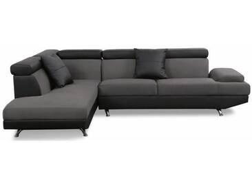 SCOOP Canapé dangle gauche 4 places - Tissu gris et simili noir - Contemporain - L 259 x P 182 cm