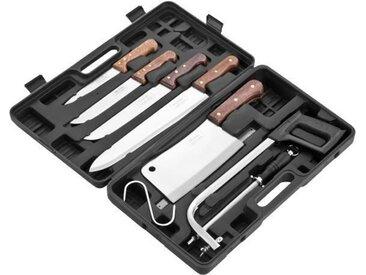 PRADEL EXCELLENCE Valise de découpe 7 pièces K31128 : 4 couteaux boucher + 1 fusil + 1 scie + 1 grand couperet + 1 crochet