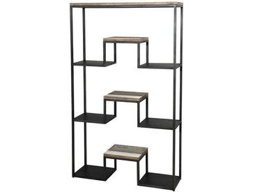 """Étagère """"XL"""" scandinave en bois acacia massif naturel, noir et blanc + pieds en métal noir - L 100 cm"""