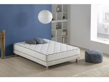 Ensemble matelas ressorts et mousse + sommier tapissier 140 x 190 - Confort équilibré - Epaisseur 25 cm - FINLANDEK Arkuus