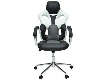 MASK Fauteuil de bureau - Simili noir, blanc et gris - Urbain - L 73 x P 59 cm